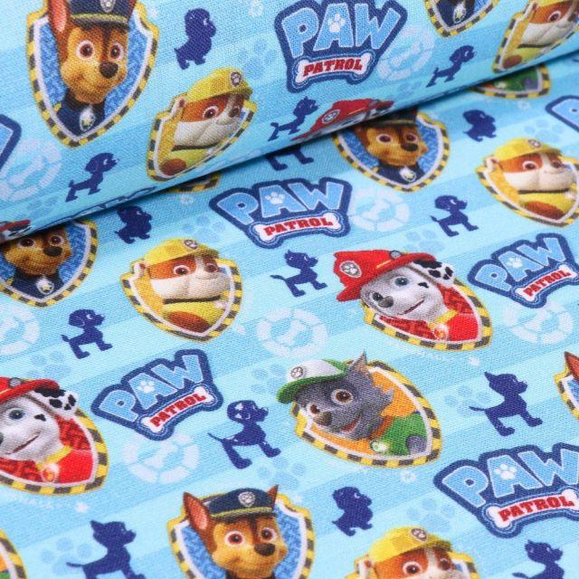 Tissu Coton imprimé sous licence Bio Pat'patrouille sur fond Bleu turquoise - Par 10 cm