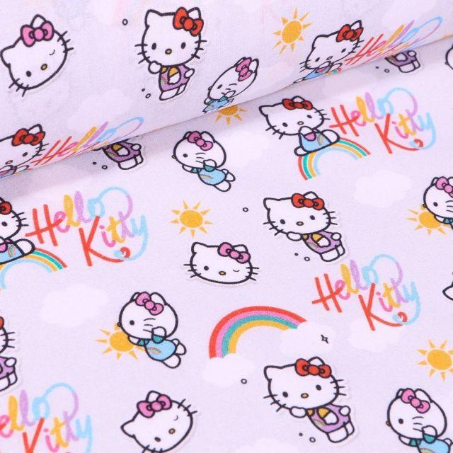Tissu Coton imprimé sous licence Bio Hello Kitty sur fond Gris clair - Par 10 cm