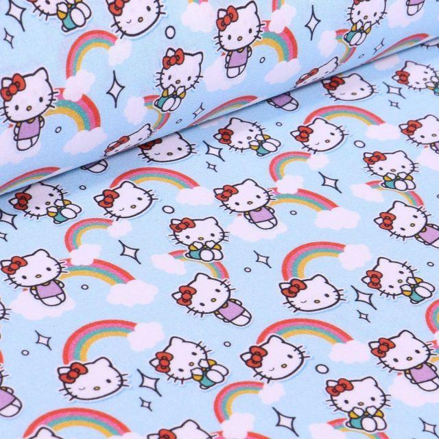 Tissu Coton imprimé sous licence Bio Hello Kitty sur fond Bleu - Par 10 cm