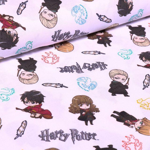 Tissu Coton imprimé sous licence Bio Harry Potter sur fond Blanc - Par 10 cm
