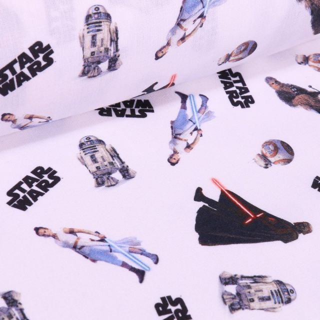 Tissu Coton imprimé sous licence Bio Star Wars Héros sur fond Blanc - Par 10 cm