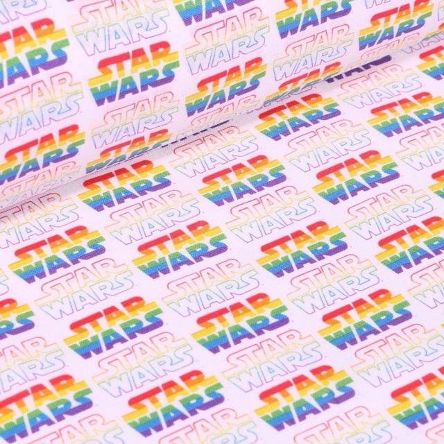 Tissu Coton imprimé sous licence Bio Star Wars Multicolores sur fond Blanc - Par 10 cm