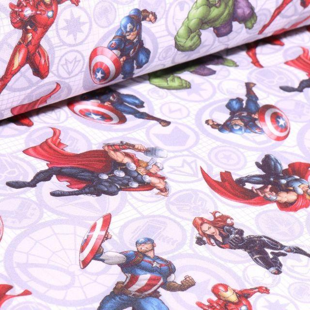 Tissu Coton imprimé sous licence Bio Super héros Avengers sur fond Blanc - Par 10 cm