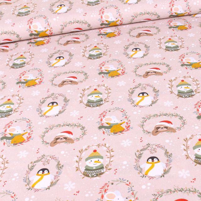 Tissu Coton imprimé Bio Animaux de noël sur fond Beige