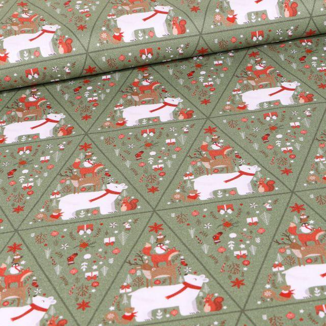 Tissu Coton imprimé Bio Pyramides d'animaux sur fond Vert kaki