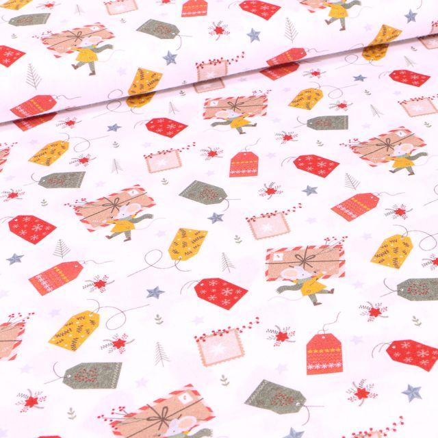 Tissu Coton imprimé Bio Enveloppes de noël sur fond Blanc