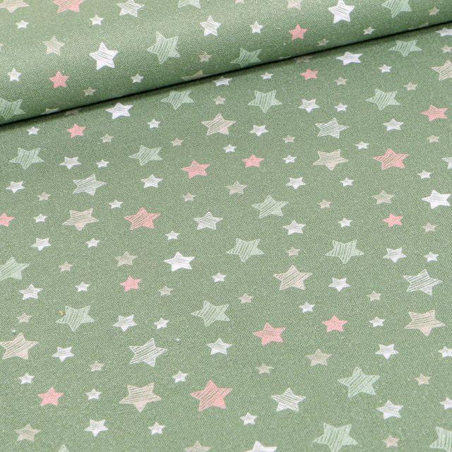 Tissu Coton imprimé Bio Etoiles pastels sur fond Vert amande