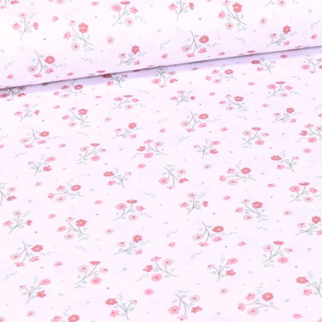 Tissu Coton imprimé Bio Bouquets de fleurs sur fond Blanc