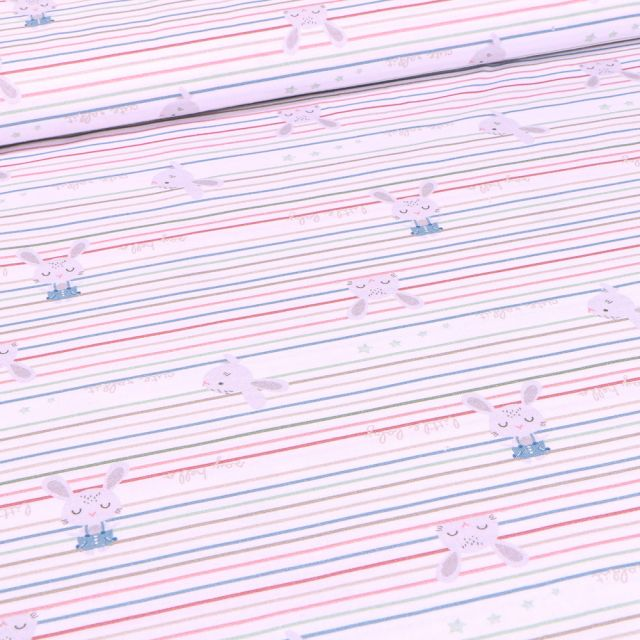 Tissu Coton imprimé Bio Rayures multicolores et lapins sur fond Blanc