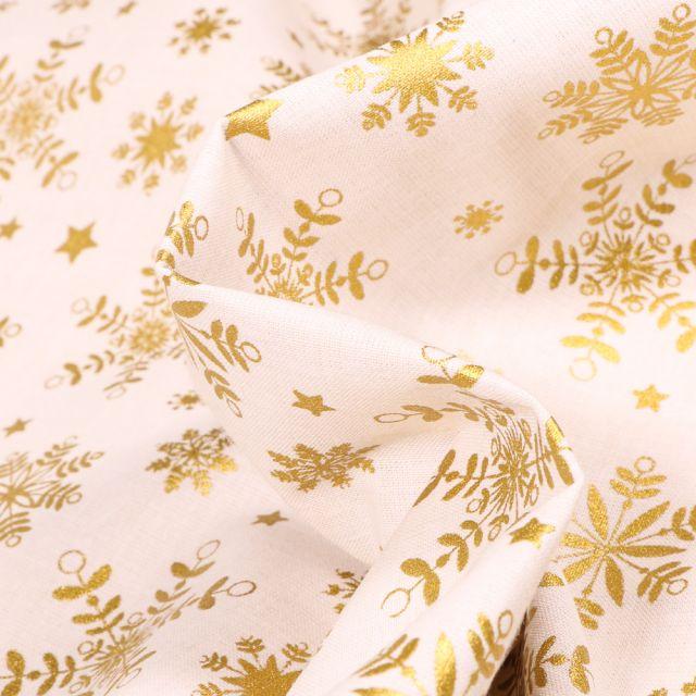 Tissu Coton imprimé Bio Flocons dorés sur fond Blanc cassé