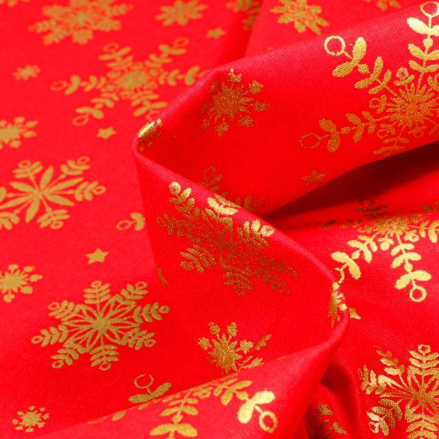 Tissu Coton imprimé Bio Flocons dorés sur fond Rouge
