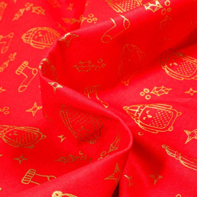 Tissu Coton imprimé Bio Pingouin dorés sur fond Rouge