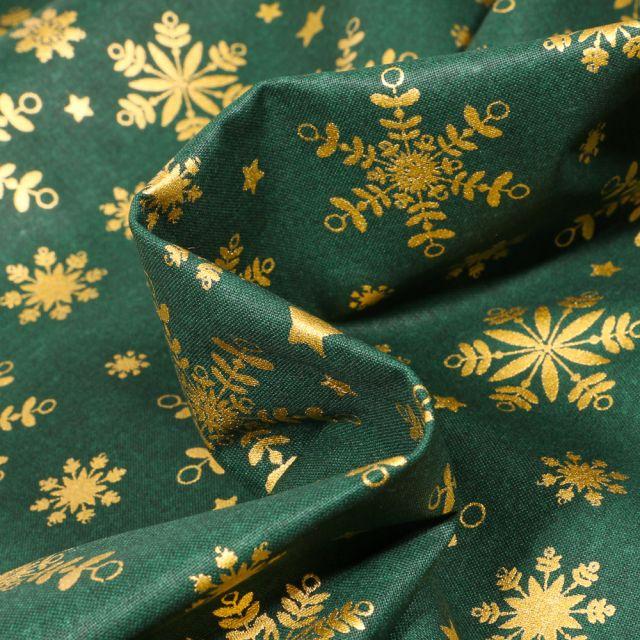 Tissu Coton imprimé Bio Flocons dorés sur fond Vert foncé