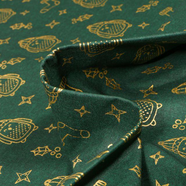 Tissu Coton imprimé Bio Pingouins dorés sur fond Vert foncé