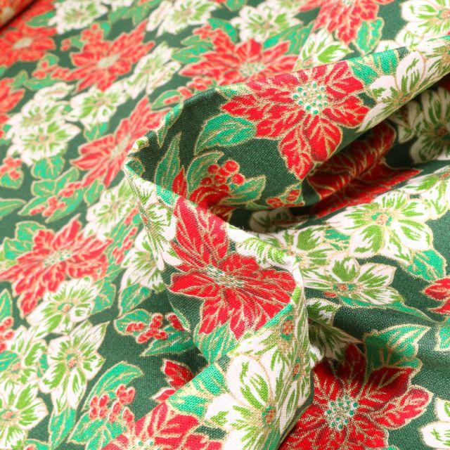 Tissu Coton imprimé Bio Poinsettia fleurs de noël sur fond Vert