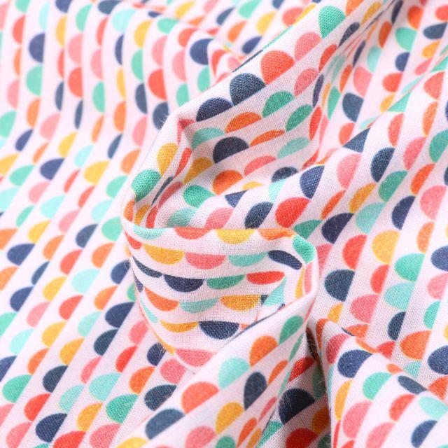 Tissu Coton MC Fabrics Demi cercles multicolores sur fond Blanc