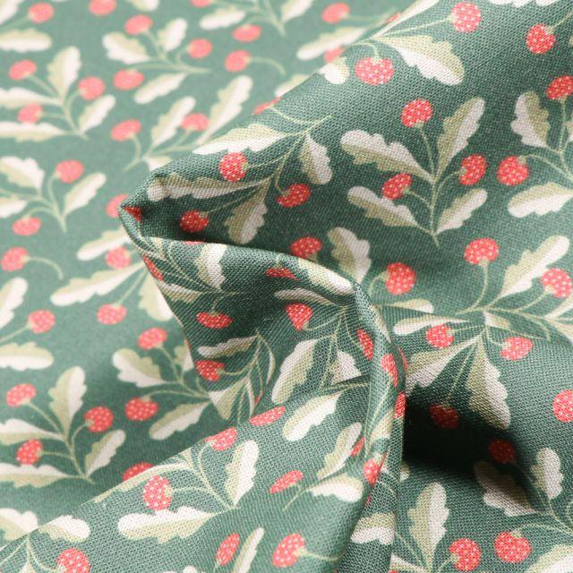 Tissu Coton MC Fabrics Framboisier sur fond Vert d'eau