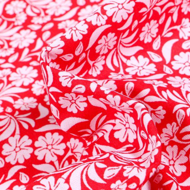 Tissu Coton MC Fabrics Garden sur fond Rouge