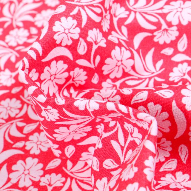 Tissu Coton MC Fabrics Garden sur fond Rouge griotte