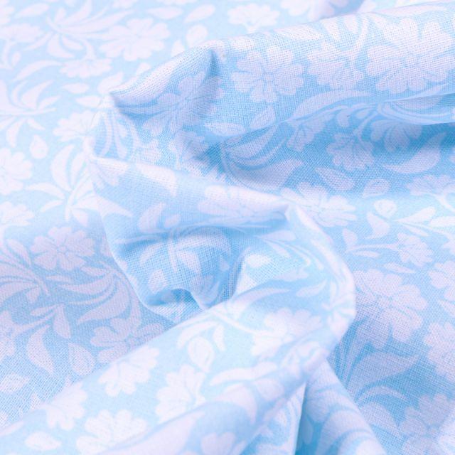Tissu Coton MC Fabrics Garden sur fond Bleu ciel