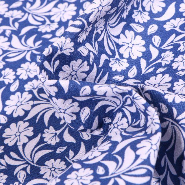 Tissu Coton MC Fabrics Garden sur fond Bleu roi