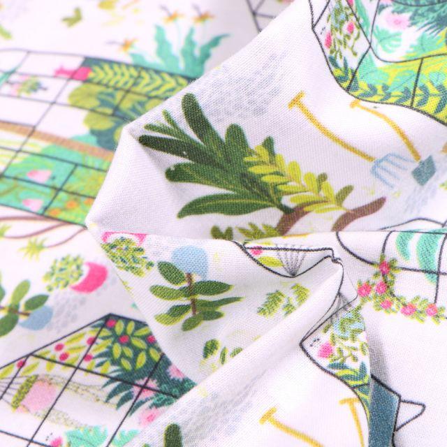 Tissu Coton MC Fabrics Jardinage sur fond Blanc