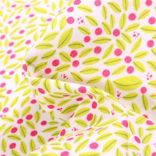 Tissu Coton MC Fabrics Fruits jaune vif et pois rose sur fond Blanc