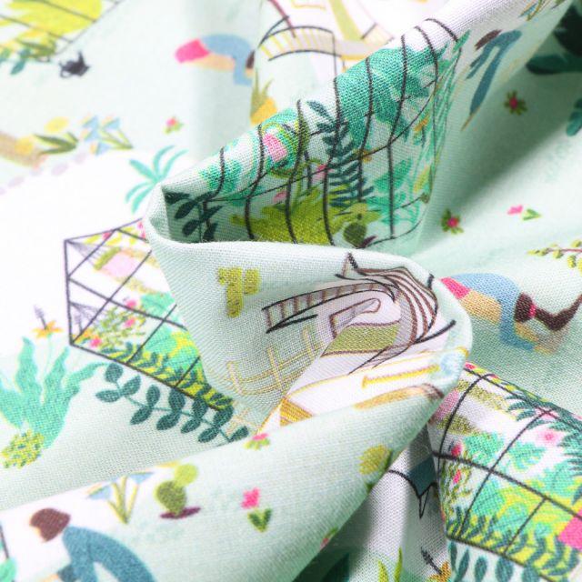 Tissu Coton MC Fabrics Jardinage et détente sur fond Vert menthe