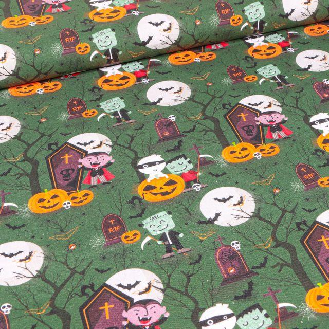 Tissu Coton imprimé Bio Vampires et monstres d'halloween sur fond Vert