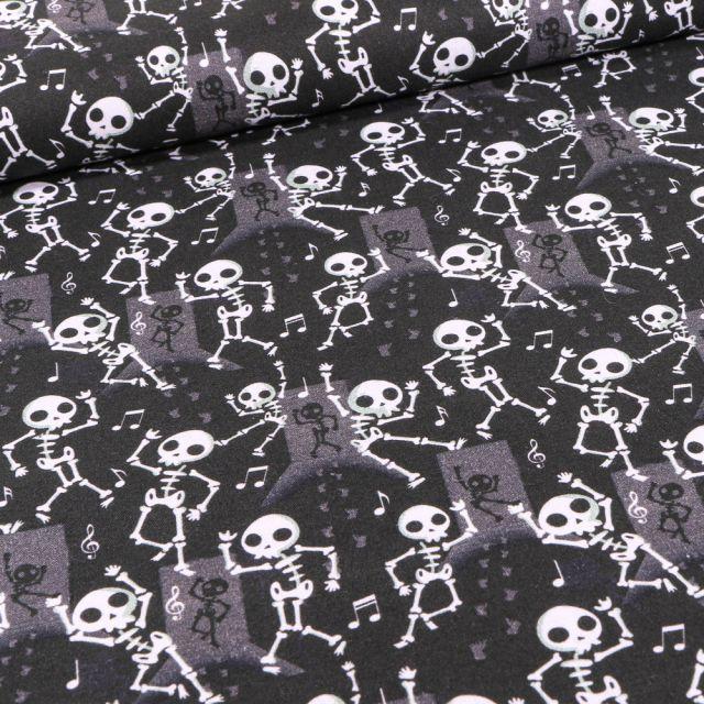 Tissu Coton imprimé Bio Squelettes d'halloween sur fond Noir