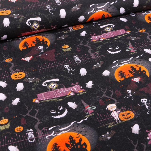 Tissu Coton imprimé Bio Nuit d'halloween sur fond Noir