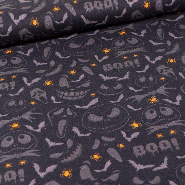 Tissu Coton imprimé Bio Fantômes halloween sur fond Noir