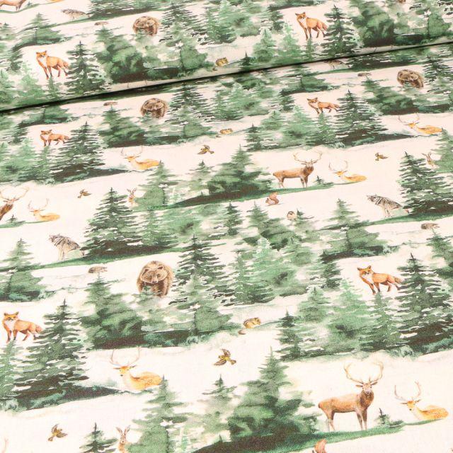 Tissu Coton imprimé Bio Forêts et ses animaux sur fond Ecru