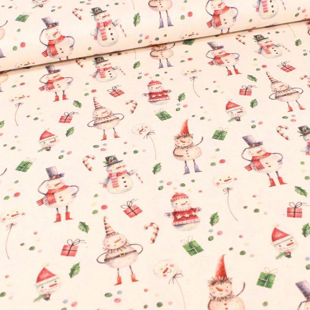 Tissu Coton imprimé Bio Bonhommes de neiges sur fond Ecru