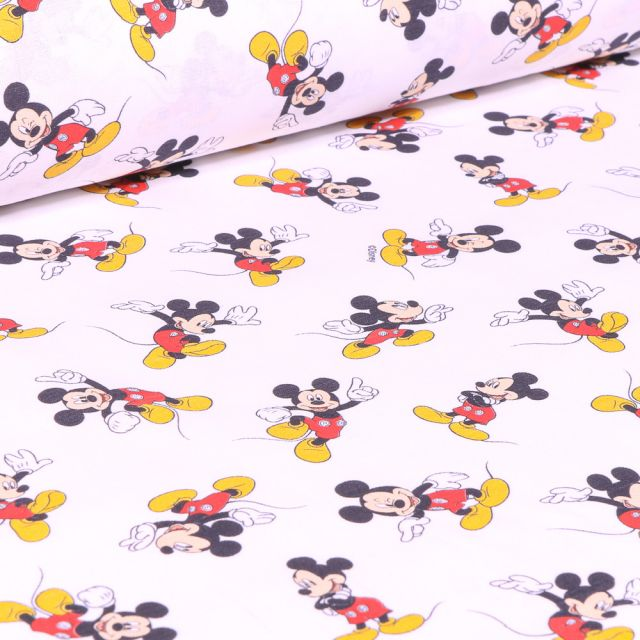 Tissu Coton imprimé sous licence Bio Mickey sur fond Blanc