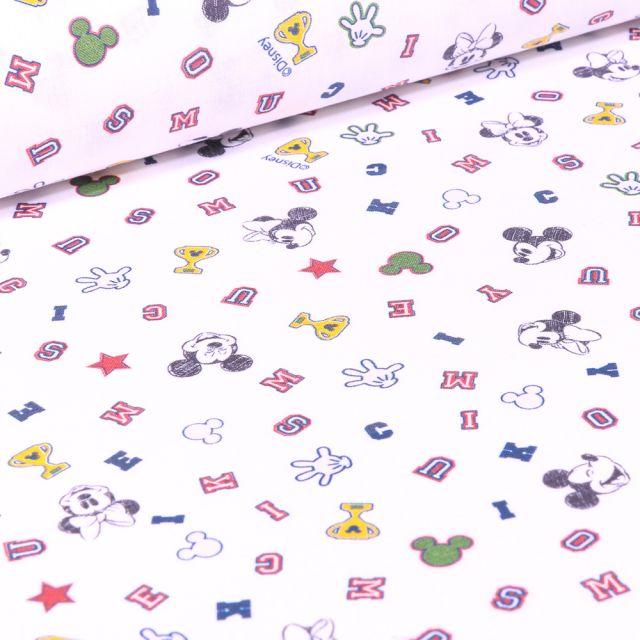 Tissu Coton imprimé sous licence Bio Logo Mickey sur fond Blanc