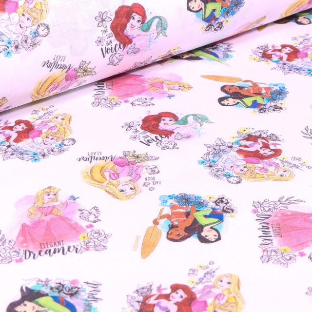 Tissu Coton imprimé sous licence Bio Princesse Disney sur fond Blanc