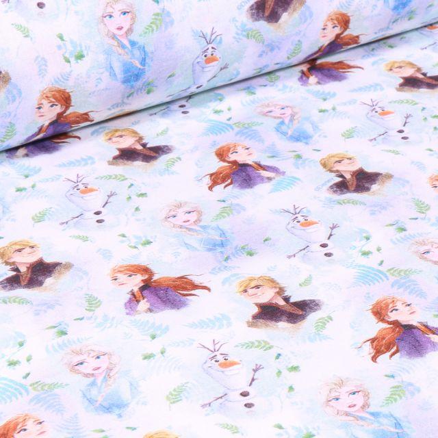 Tissu Coton imprimé sous licence Bio Elsa et Kristoff sur fond Blanc