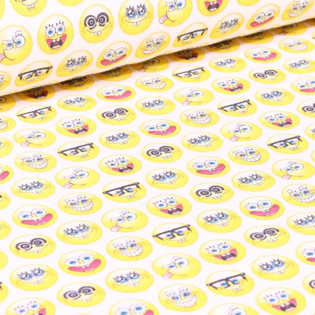 Tissu Coton imprimé sous licence Bio Bob l'éponge cercle sur fond Blanc