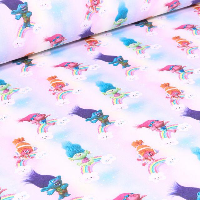 Tissu Coton imprimé sous licence Bio Trolls Rainbow sur fond Blanc