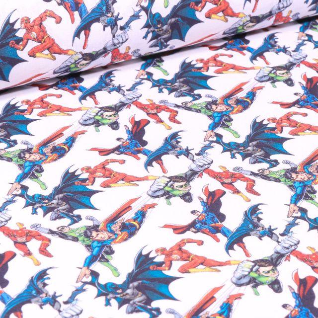Tissu Coton imprimé sous licence Bio Super héros Avengers GO sur fond Blanc