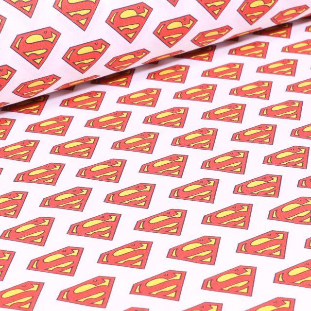 Tissu Coton imprimé sous licence Bio Superman Logo sur fond Blanc