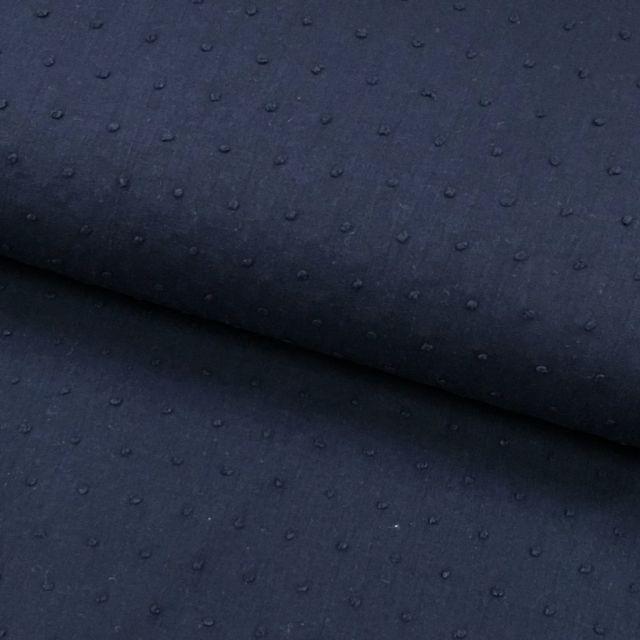 Tissu Plumetis Coton Bleu marine - Par 10 cm