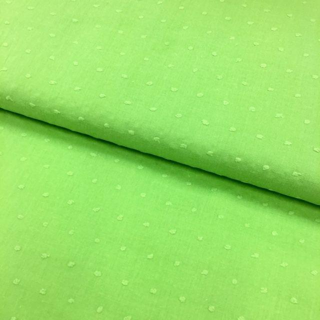Tissu Plumetis Coton Vert pomme - Par 10 cm
