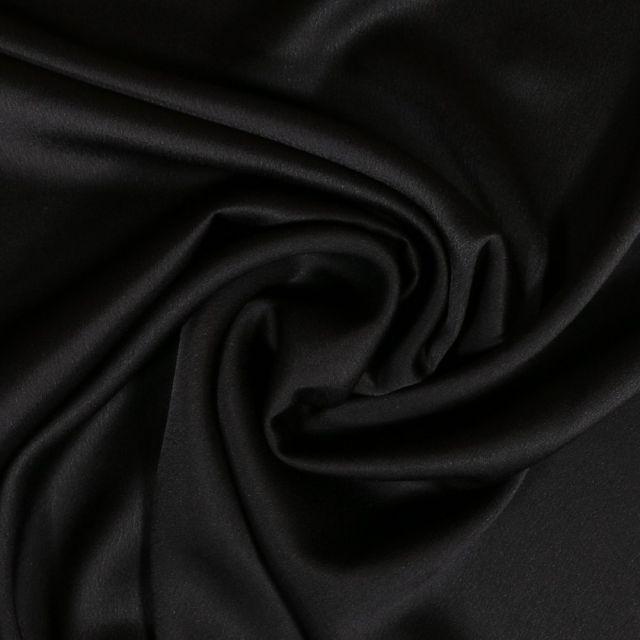 Tissu Crêpe satin mat Noir x10cm