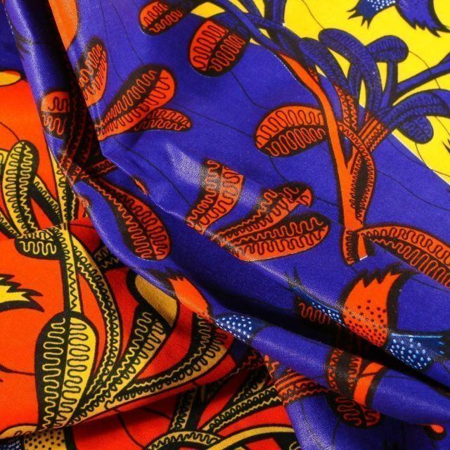 Tissu Wax africain N°601 Végétations sur fond Violet - Par 10 cm