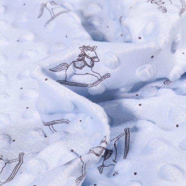 Tissu Minky Ultra doux Pois  Cheval à bascule sur fond Bleu ciel