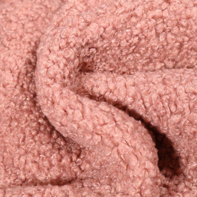 Tissu Lainage bouclettes Rose pastel