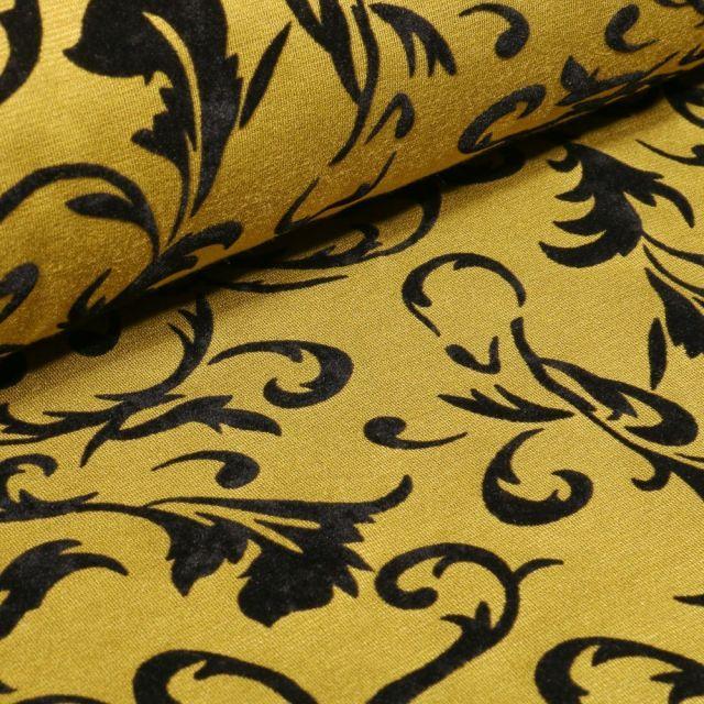 Tissu Jersey Milano Arabesque fleuris en relief velours sur fond Jaune - Par 10 cm