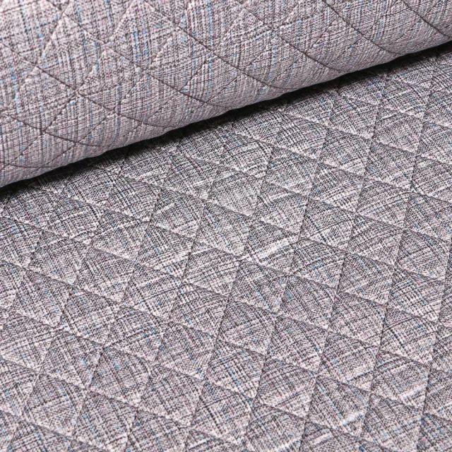 Tissu Doudoune matelassé London Chiné sur fond Gris - Par 10 cm